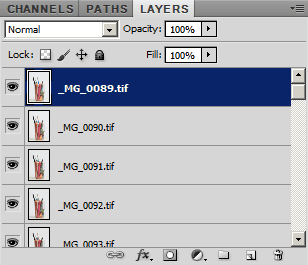 Images loaded into layers